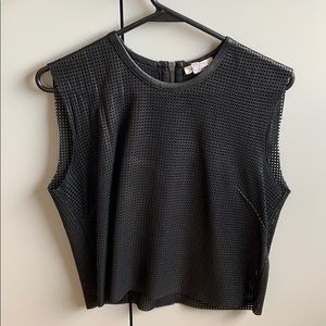 Helmut Lang cropped leather tank top